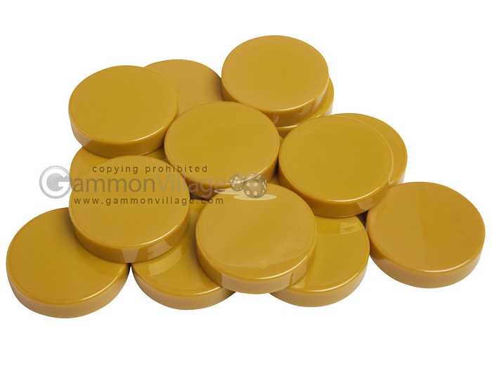 Backgammon Checkers - Opaque - Amber - (1 3/4 in. Dia.) - Roll of 15