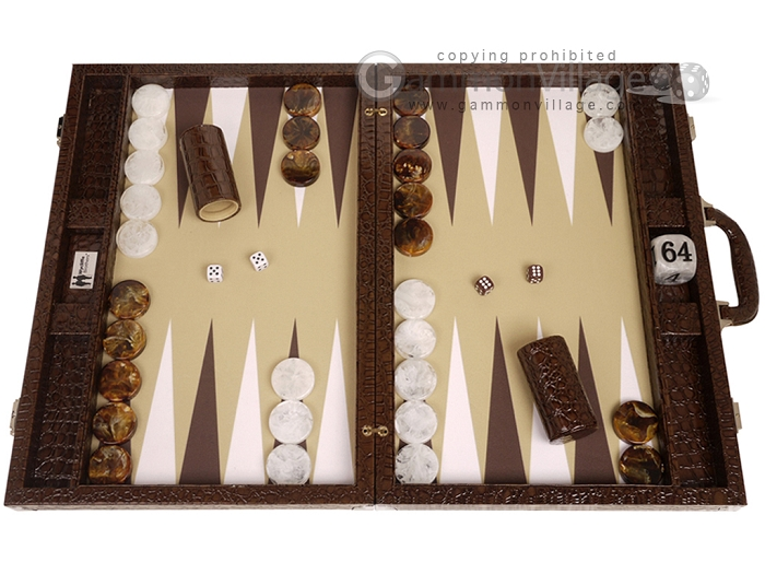 Wycliffe Brothers® Tournament Backgammon Set - Brown Croco with Beige Field - Gen II