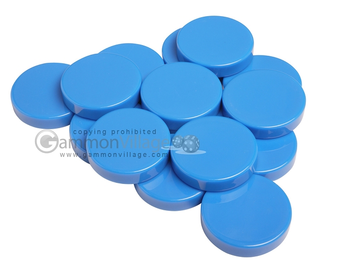 Backgammon Checkers - Opaque - Light Blue - (1 3/4 in. Dia.) - Roll of 15