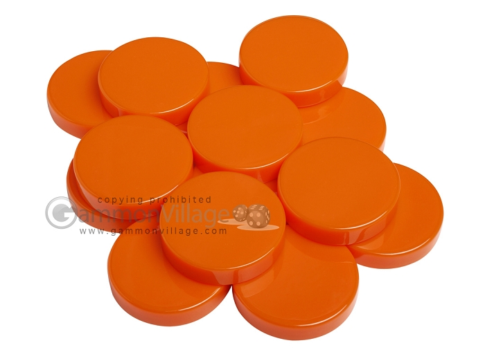 Backgammon Checkers - Opaque - Orange - (1 3/4 in. Dia.) - Roll of 15