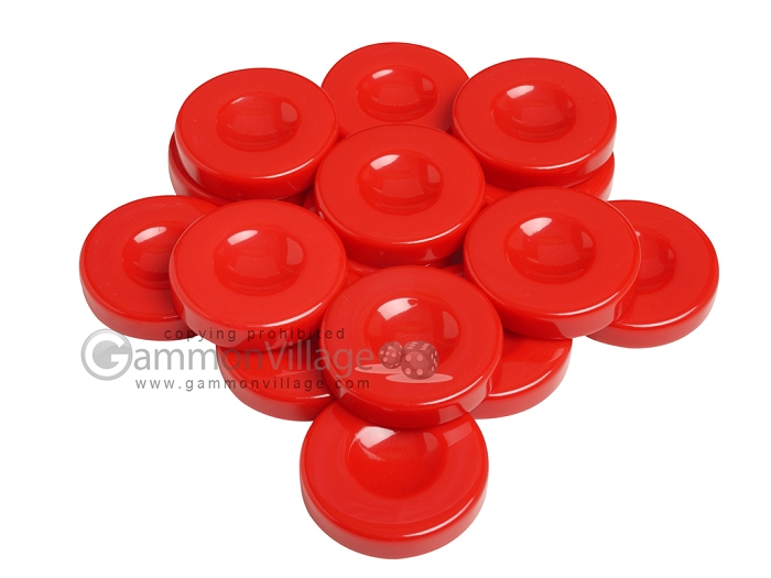 Backgammon Checkers - Opaque - Red - with Finger Dish - (1 3/4 in. Dia.) - Roll of 15