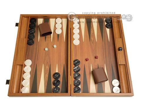 19-inch Wood Backgammon Set - Walnut with Side Racks