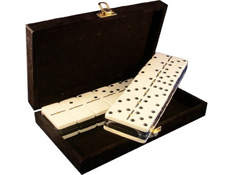 DOUBLE 6 Two-Tone Black + White Dominoes Set - With Spinners - Velvet Box
