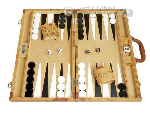 18-inch Map Backgammon Set - Brown