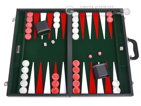 21-inch Leatherette Backgammon Set - Inlaid Velvet Field - Black/Green