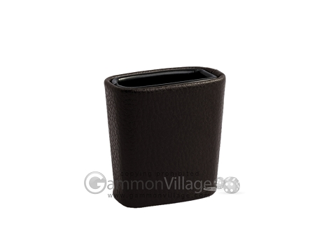 Leatherette Backgammon Dice Cup - Oval - Chocolate