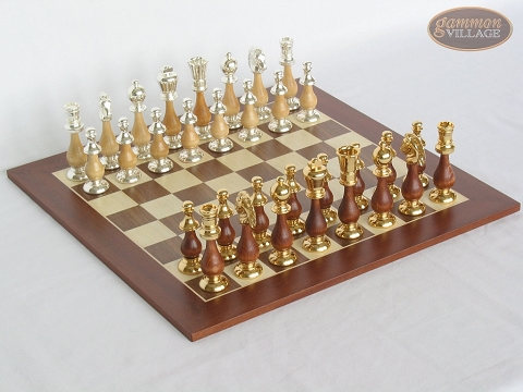 Modern Italian Staunton Chessmen with Spanish Wood Chess Board