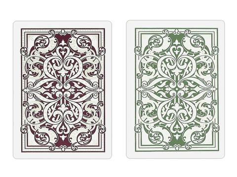 Kem Jacquard Burgundy/Green Wide Cards - Double Deck