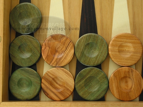 Backgammon Checkers - Olive Wood - Green - Set of 30