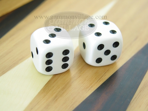Rounded Solid Dice - White (1 pair)