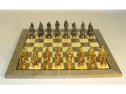 Pewter Fantasy Chessmen with Crystals on Grey Briar/Ivory Glossy Chess Board