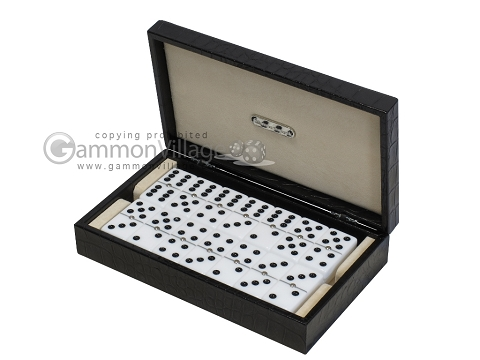 Double 6 Dominoes Set - Black Back - Black Croco Case