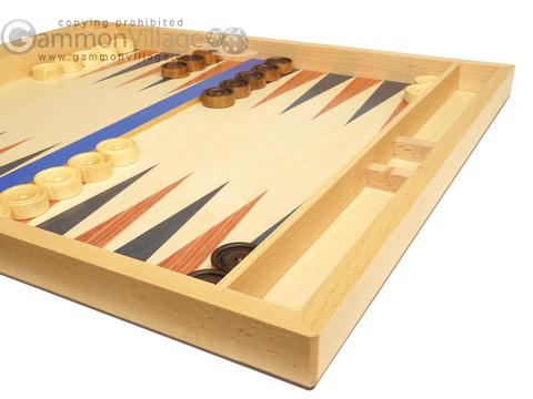 19-inch Wood Backgammon Set - Beechwood (Blue/Brown)