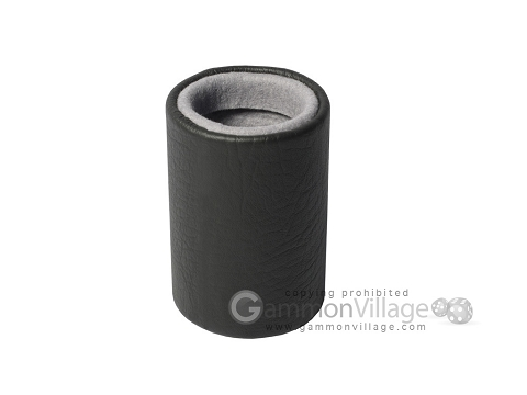 Professional Leather Backgammon Dice Cup - Round - Grey Felt