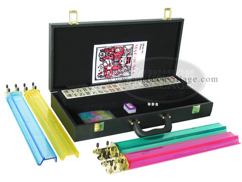 American Mah Jong Set - Ivory Tiles - Faux Alligator Case - Matte Black - Pushers Not Included