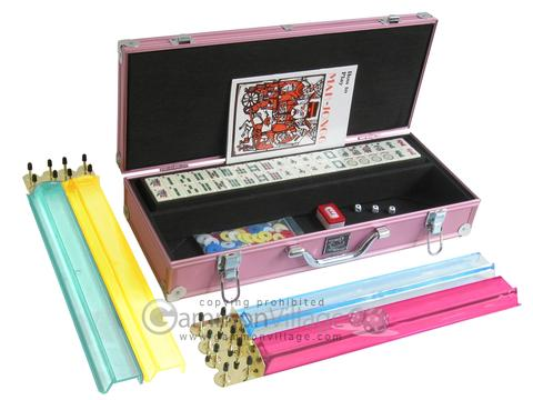 White Swan Mah Jongg™ - Ivory Tiles - Aluminum Case - Pink - Pushers Not Included