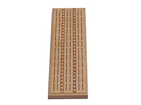 Solid Oak 3 Track Cribbage Board with Inlay