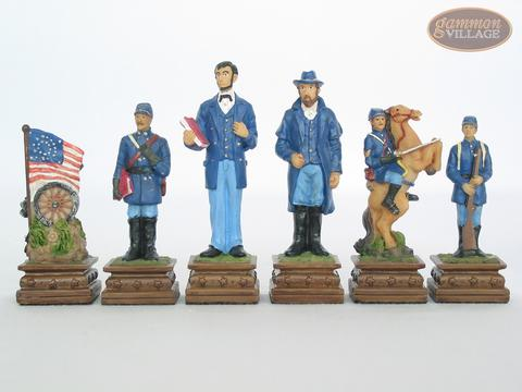 American Civil War Chessmen with Italian Lacquered Chess Board [Red]