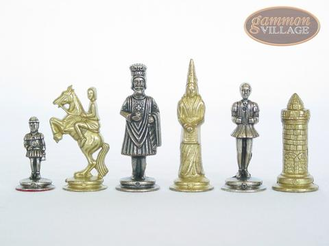 teutonic brasssilver chessmen with deluxe wood chess board