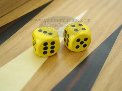 5/8 in. Rounded Wood Dice - Yellow (1 pair)