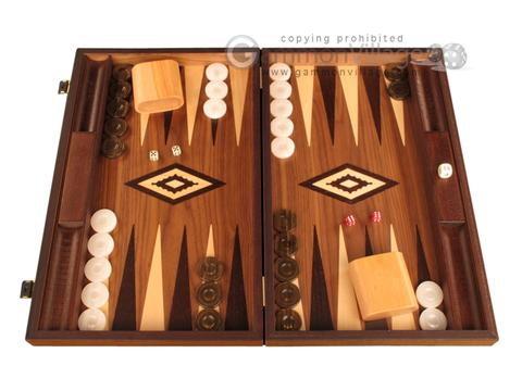 White Zebrano Backgammon Set - Large - Walnut Field