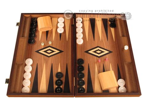 Ebony Zebrano Backgammon Set - Large - Walnut Field