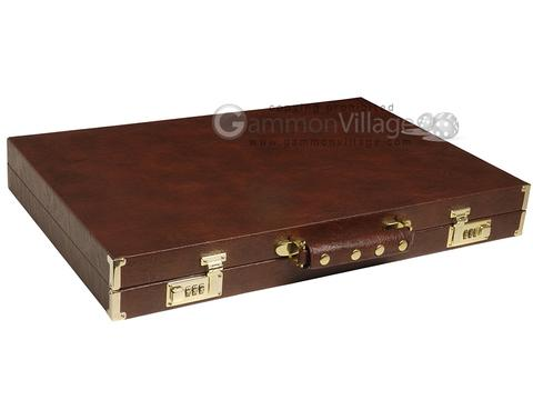 GammonVillage Tournament Backgammon Set - Champion Class - Brown with Cream Field