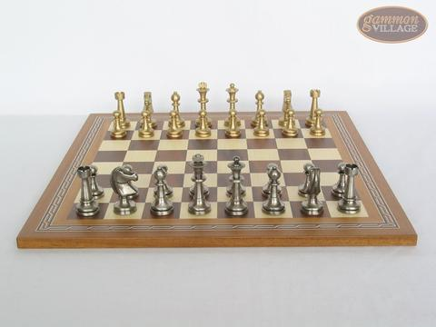 Professional Brass Tournament Chessmen with Spanish Mosaic Chess Board