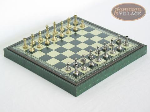 Italian Brass/Silver Staunton Chessmen with Patterned Italian Leatherette Chess Board with Storage [Green]