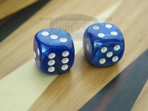 Rounded High Gloss Flecked Dice - Blue (1 pair)