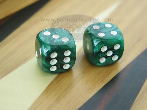 Rounded High Gloss Flecked Dice - Green (1 pair)