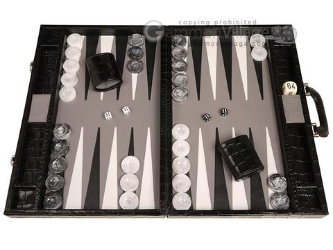 Marcello de Modena™ Leather Backgammon Set - Model MM-114 - Large - Croco Black - Grey Field