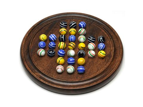 Dark Walnut Stained Solitaire with Assorted Stripe Marbles - 12 in.