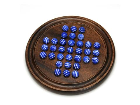 Dark Walnut Stained Solitaire with Blue Stripe Marbles - 12 in.
