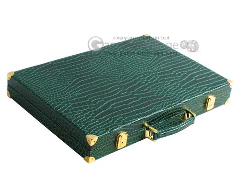Hector Saxe Faux Croco Backgammon Set - Emerald Green