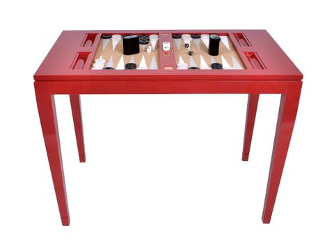 Lacquered Backgammon Table - Bolero Red