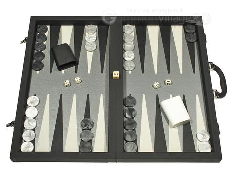 Dal Negro Composite Fiber/Leatherette Backgammon Set - Black