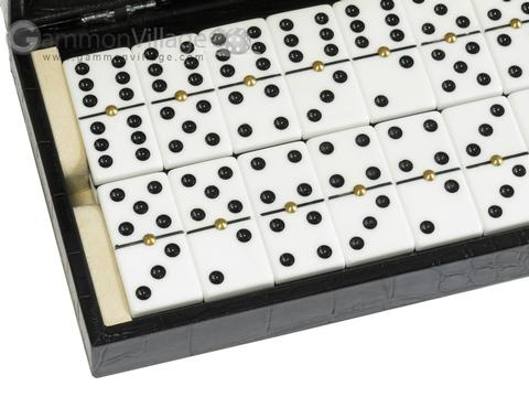 Double 6 Dominoes Set - Black Croco Case