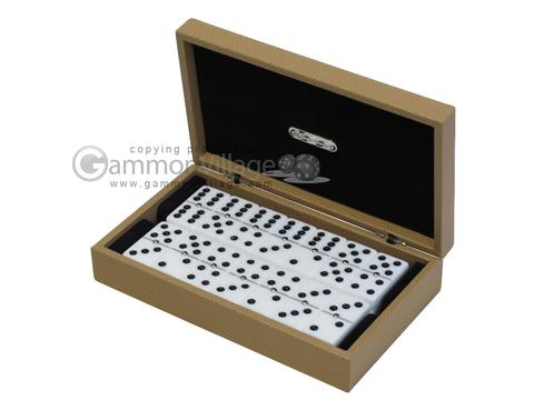 Double 6 Dominoes Set - Beige Leather Case