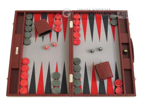 Hector Saxe Faux Snake Backgammon Set - Medium - Maroon