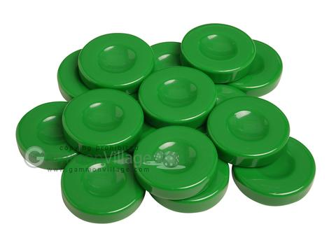 Backgammon Checkers - Opaque - Green - with Finger Dish - (1 3/4 in. Dia.) - Roll of 15