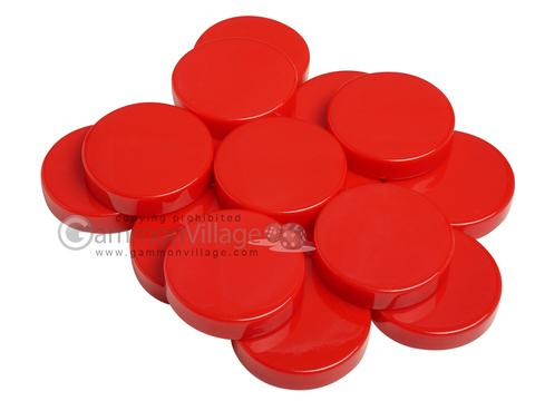 Backgammon Checkers - Opaque - Red - (1 3/4 in. Dia.) - Roll of 15