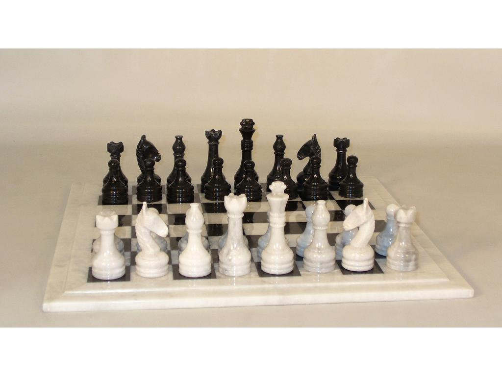 15-1/2 in. Black and White Marble Sculpted Chess Set
