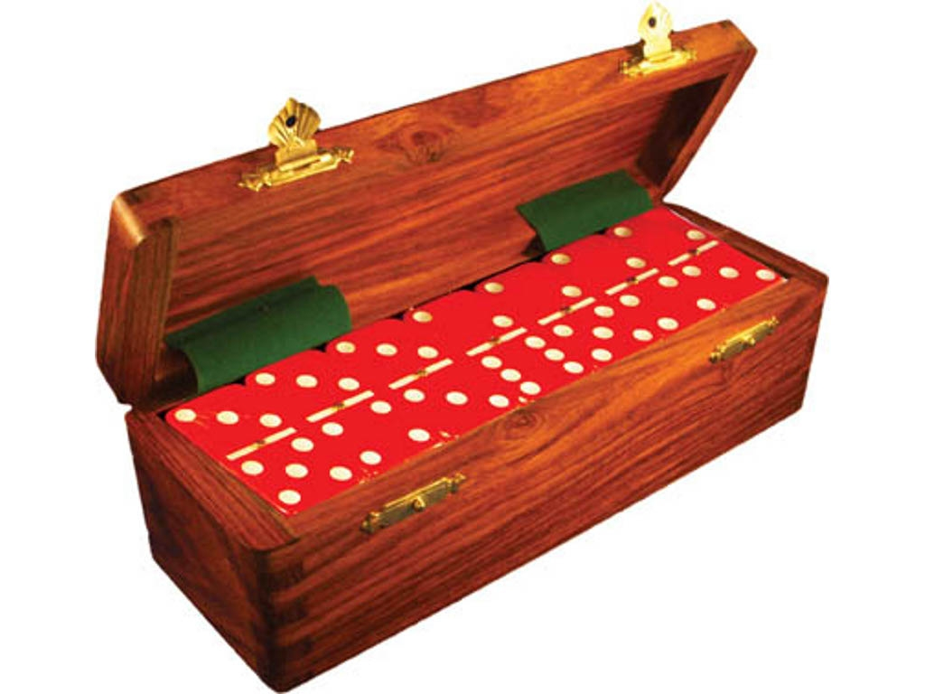 DOUBLE 6 Red Dominoes Set - With Spinners - Wood Box