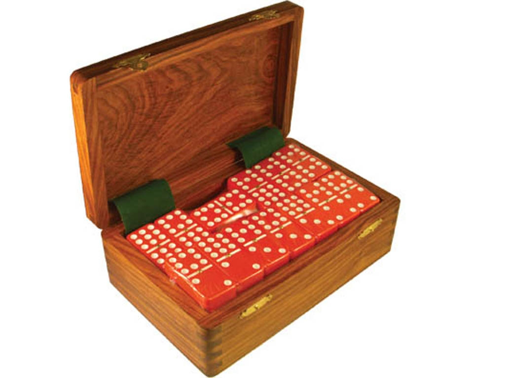 DOUBLE 9 Red Dominoes Set - With Spinners - Wood Box