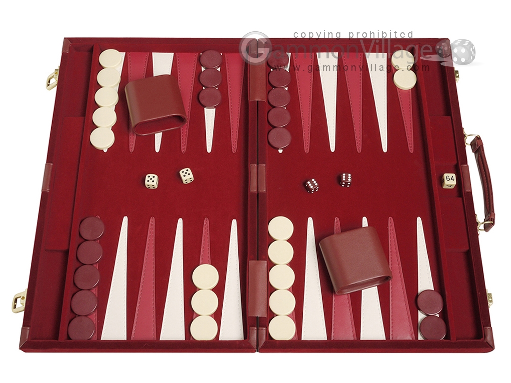 15-inch Deluxe Backgammon Set - Maroon