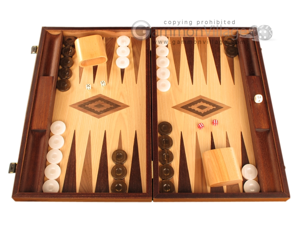 Walnut and Oak Backgammon Set - Large - Brown