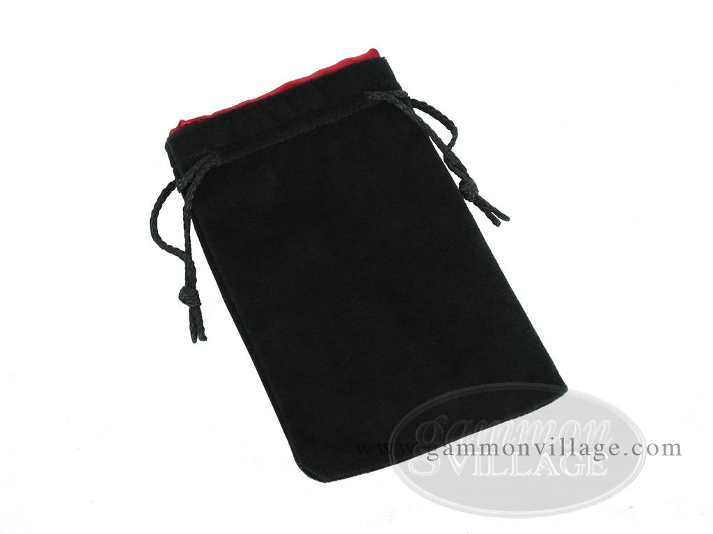 Black Velvet Dice Bag With Red Satin Lining - (5 in. x 8 in.)