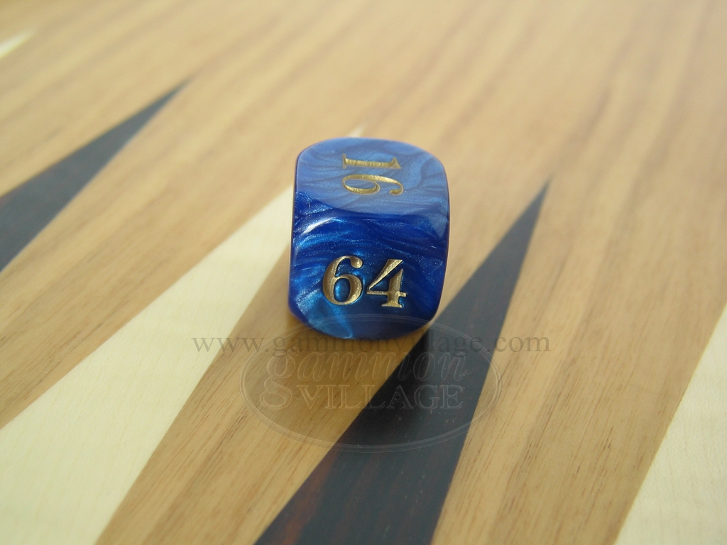 7/8 in. Backgammon Doubling Cube - Blue Marbleized