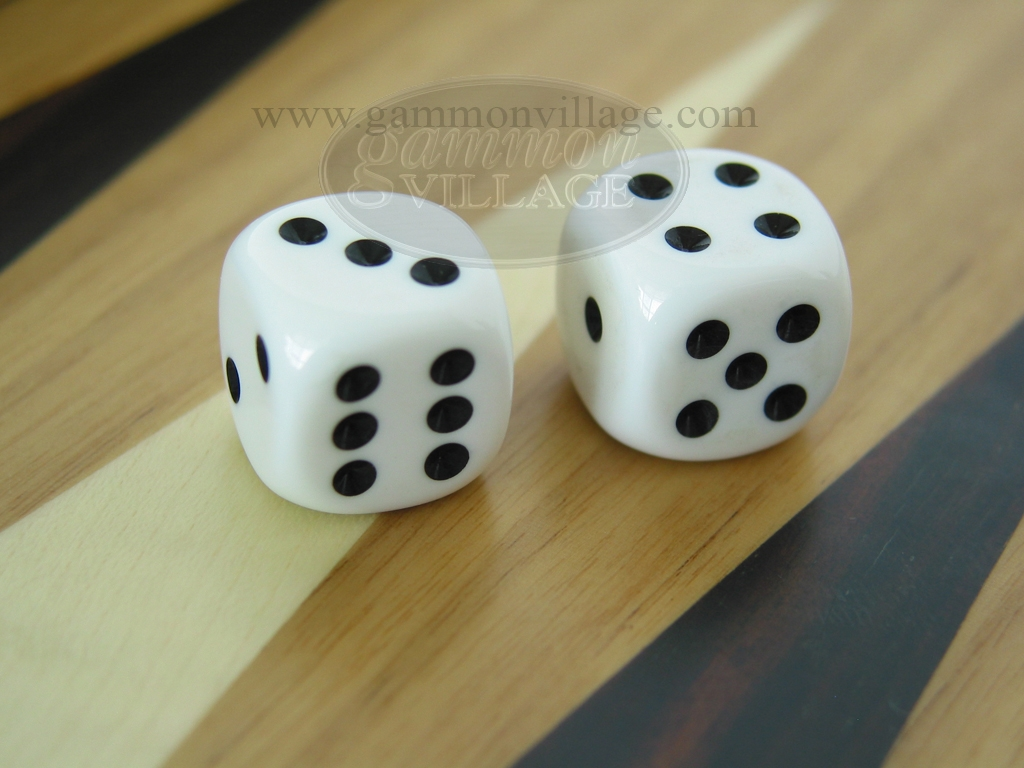 3/8 in. Rounded High Gloss Solid Dice - White (1 pair)
